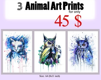 3 Animal Art Prints