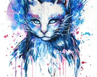 Space cat- signed Art Print
