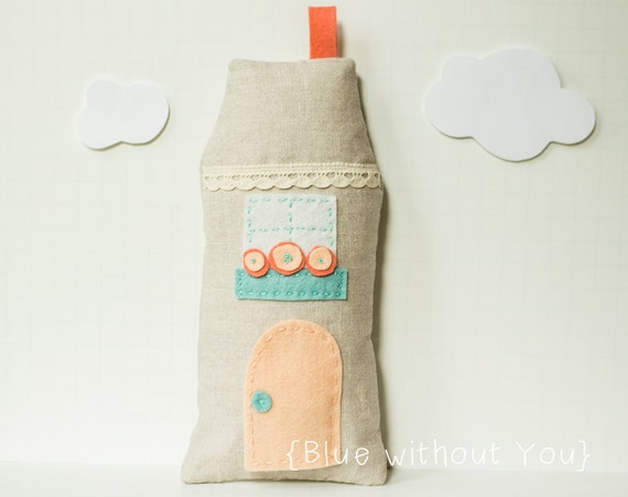 Tooth Fairy Cottage Pillow - Stuffed House with Secret Door - Linen, Felt and Embroidery - Peach, Coral and Turquoise
