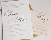 DIY Printable Wedding Invitation - Vintage Style - Olivia in Nude. Items sold individually