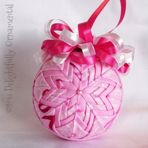 sale breast cancer awareness quilted ornament christmas. Black Bedroom Furniture Sets. Home Design Ideas