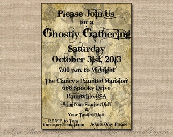 halloween invitation, handmade digital invite, halloween party vintage invitation, hallowen ghost invite - DIY PRINTABLE