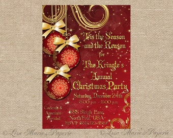 christmas party invitation, handmade digital invite, christmas ornament invite, christmas invite - Digital File - DIY PRINTABLE