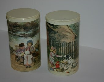 Vintage Massilly French Collector Tins with Childhood Scenes