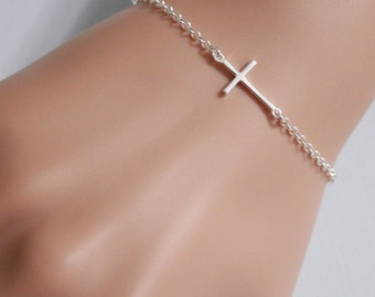 Sideways Cross Bracelet, Sterling Silver Sideways Cross Bracelet