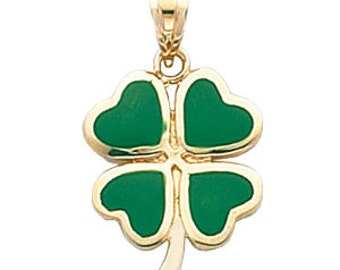 14k Gold Green Enamel 4 Leaf Clover Pendant, Gold Green Enamel 4 Leaf Clover Pendant, Four Leaf Clover Pendant, Clover, Irish, Lucky