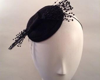 Fascinator-- Headpiece - Hat- -Black--Felt-- Wedding - Church-Women's Headwear- Millinery