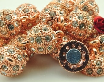 10 Sets  of Rose Gold plated Crystal Magnetic Clasp in 12mm