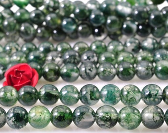 96 pcs of Natural moss agate smooth round beads in 4mm