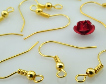 200 pcs of Gold Plated ear hook in 3mm WideX18mm long
