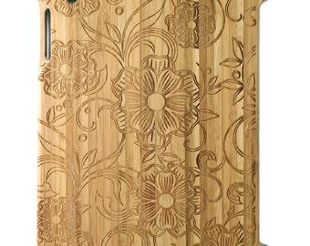Natural Bamboo iPad 2,3,4 case, Flowers & Vine design design, UK