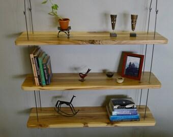 Rustic Hanging Wood Shelves