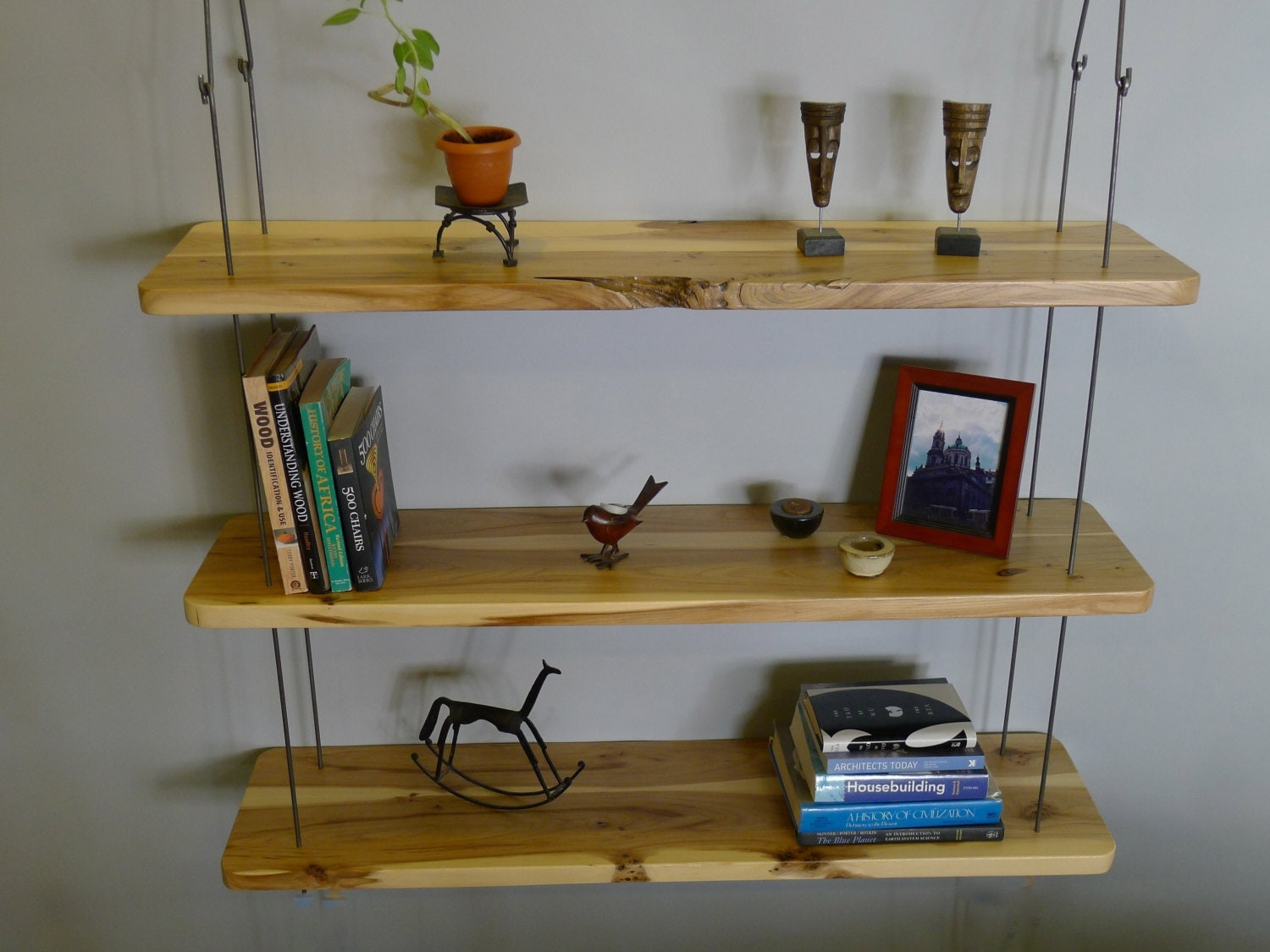 Amazing photo of Rustic Hanging Wood Shelves by RusticAlchemy on Etsy with #62461C color and 1500x1125 pixels