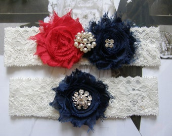 Something Blue / Wedding / Garter /  Navy Blue / Red / Vintage Inspried Lace Garter / Bridal Garter Set