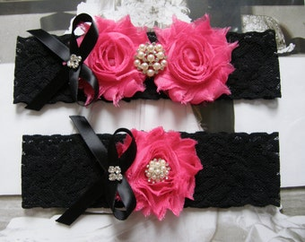 Black & Hot Pink /  Wedding Garters / Lace Garter/ Bridal Garter Set / Vintage Inspired