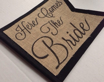 Here Comes The Bride banner pendant flag sign on  burlap