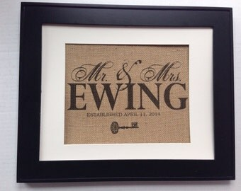 Mr & Mrs. family name and established year sign printed on real burlap