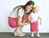 Girls Pencil Skirt,  Fuchsia and White Polka Dot