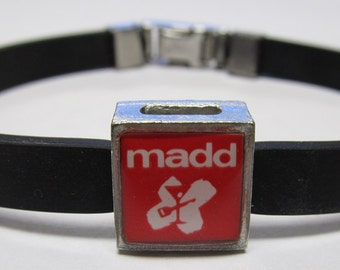 MADD Mothers Against Drunk Driving Red Logo Awareness Link With Choice Of Colored Band Charm Bracelet
