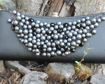 Upcycled Purse Alija Hobo Hippy Gypsy  Pearl encrusted Crossover/clutch