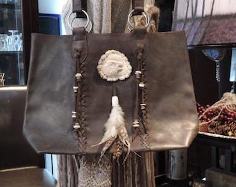 Upcycled Purse 'Billy' Boho Hobo Native Over the Shoulder Leather Satchel