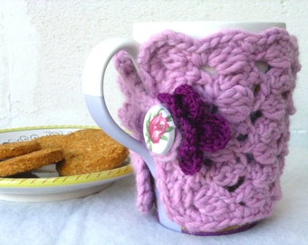 Crochet Cup Cozy, Crochet Mug Cover, crochet flower, pink mug cover.