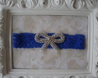 Wedding Garter - Bridal Garter - Toss Garter - Royal Blue Lace Garter with Rhinestone Bow