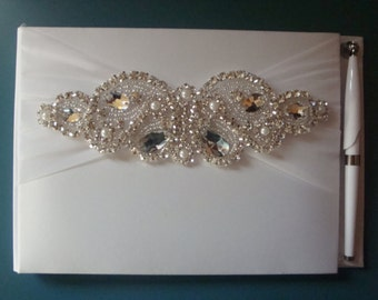 Wedding Guest Book - White Bridal Guest Book - Rhinestone Guest Book and Pen Set