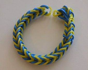 Fishtail Rubber band Bracelet By Brittani  light blue and yellow or Custome colors Latex Free