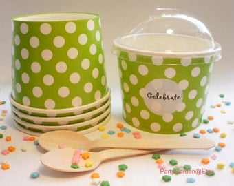 50 Lime Green Polka Dot Ice Cream Cups - Large 16 oz