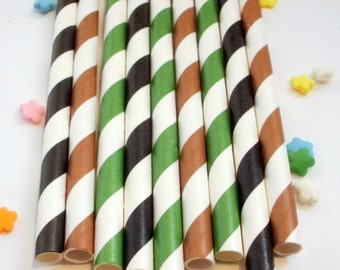25 Black, Green and Brown Camouflage Striped Paper Straws