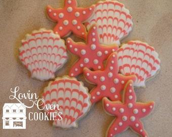 Starfish & Sea Shell Cookies - 1 Dozen / Coral Wedding Favor / Beach Wedding Decorated Sugar Cookies