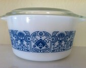 RESERVED FOR DANA--Vintage Pyrex Horizon Blue Casserole Dish Bowl with Lid 473 1 qt.
