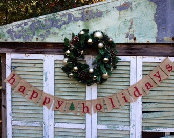 Happy Holidays Burlap Banner, Christmas Decoration,Holiday Decoration