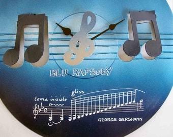 vinyl wall clock - Blue Rapsody - old record recycled - OOAK