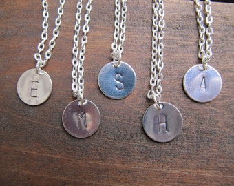 Personalized Hand Stamped Letter Charm Necklace Set of 5 - Bridesmaids Gift - Stamped Letter Charm Necklace