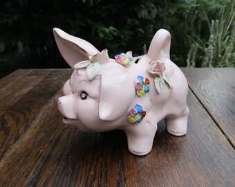 Vintage Porcelain Piggy Bank - Lefton - Rhinestone Eyes