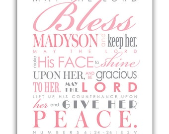 Baptism Gift for girls / First Communion Gift - Digital File - Print & Frame Your Own Personalized Scripture - Num. 6 Blessing