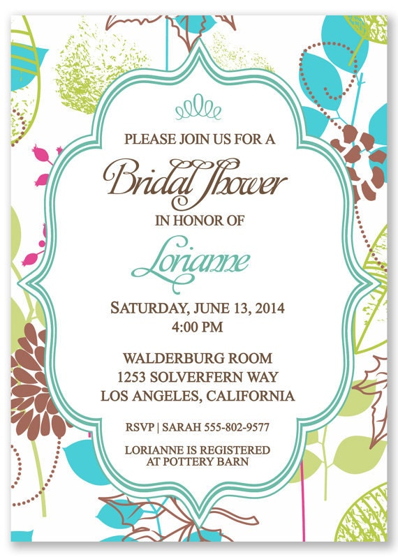 Printable Indie Style Bridal Shower Invitation - Personalized w/ your ...