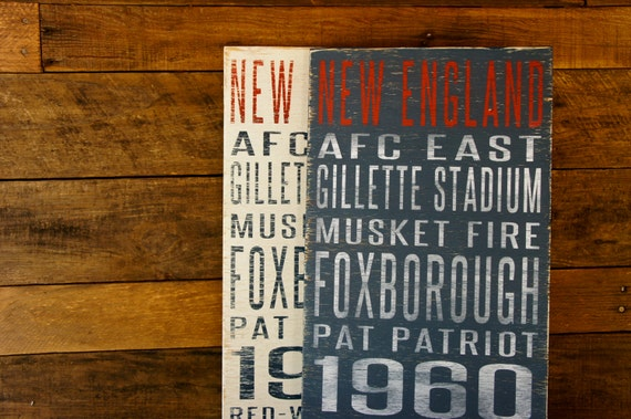New England Patriots Distressed Wood Sign--Great Father's Day Gift!