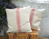 Hand made french grain sack cushions. Natural hand feel with red stripe.