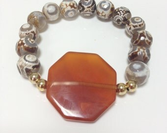 Brown and Caramel Faceted Agate beads