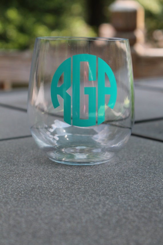 Monogram stemless wine glass acrylic by designsem on etsy for Acrylic paint on wine glasses