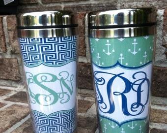 Monogrammed Travel Coffee Mugs Etsy