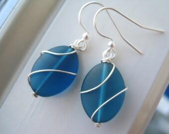 Teal Earrings - Blue Sea Glass Earrings - Sea Glass Jewelry - Wire Wrapped Earrings - Wire Wrapped Jewelry - Oval -