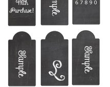 Blank Chalkboard Printable Hang Tags & Chalk Font Download .png HIGH QUALITY editable 4X6 inch sheet of- 7- 1.0 x 2.0 inch Tags