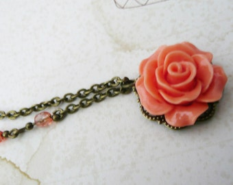 Necklace, Coral Resin rose and brass filigree Necklace: No. N89