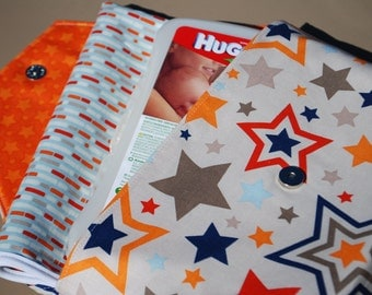 Stars in Gray, Red, Navy & Orange - Grab 'N Go Diaper Bag with Changing Mat