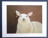 "Whimsical sheep art print called ""Girl with a Pearl Earring 2013"""