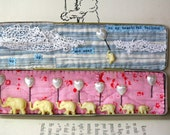 Elephants on Parade with Balloons in Vintage Tin Box,  1950's elephants, Antique Quilts, Assemblage Mixed Media Artwork